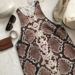 OlivaceousRacerback Snake Print Dress Medium